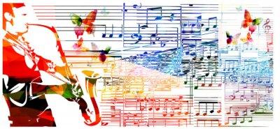 Plakat Człowiek gra na saksofonie. Muzyka w tle