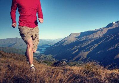 Plakat Człowiek Jogging Ćwiczenia Wellbeing Koncepcja Góry
