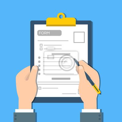Plakat Człowiek wypełnia formę dokumentu. Ręce ludzkie trzymają linkę w kształcie. Widok z góry Wektor