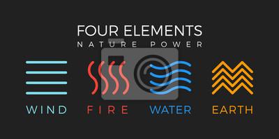 Plakat Cztery elementy prostego symbolu linii. Szablon logo. Wiatr, ogień, woda, znak ziemi.