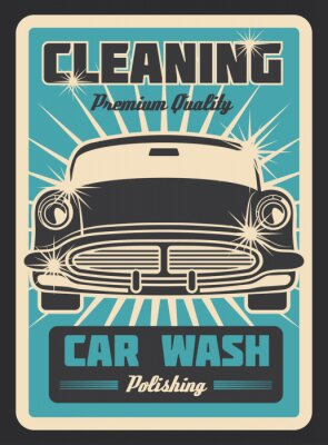 Plakat Czyszczenie rocznika samochodu plakat