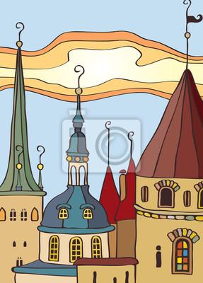 Plakat dach starego miasta