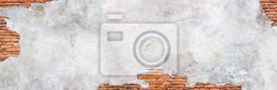 Plakat Damaged plaster on brick wall background. Brickwork under crumbling texture  concrete surface