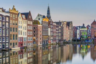 Plakat Damrak kanał w Amsterdamie, Holandia.