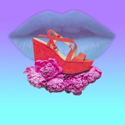 Plakat Damskie sandały na wysokiej platformie latają na chmurze kwiatów na tle warg. Współczesny kolaż. Koncepcja plakatów w stylu Memphis. Abstrakcyjny surrealizm i minimalizm