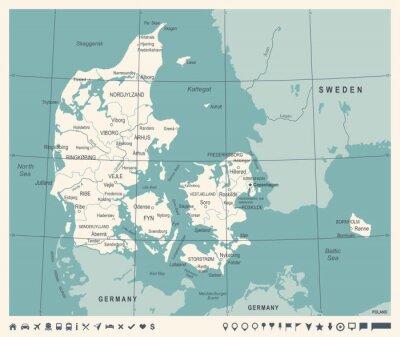 Plakat Dania mapę - Vintage ilustracji wektorowych
