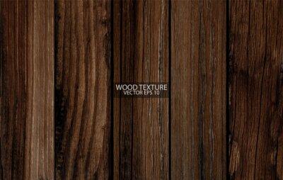 Plakat Dark brown wood texture, EPS 10 vector.  Old wide wooden planks. Grunge wooden background.