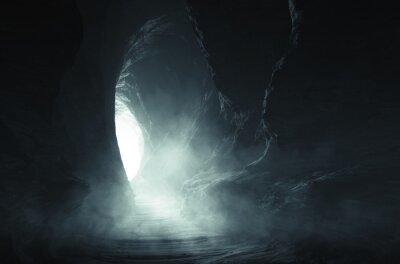 Plakat dark cave entrance, underground landscape