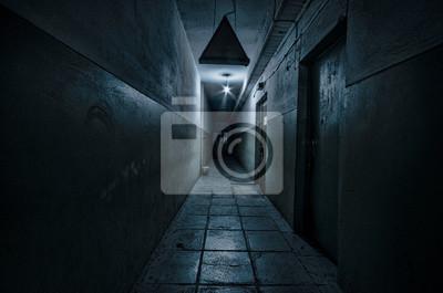 Plakat Dark corridor. Mystical interior of dark empty corridor, tunnel in an abandoned house. Dark mysterious corridor. The interior of an abandoned house, road to hell.