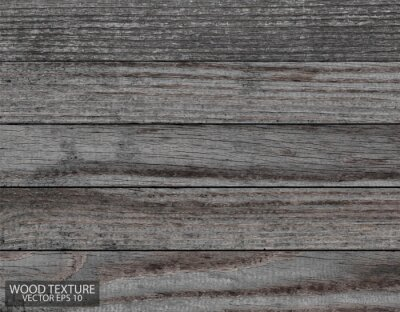 Plakat Dark grey wood texture, EPS 10 vector. Old barn boards. Wooden background.