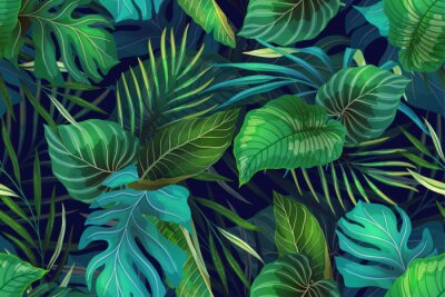 Plakat Dark pattern with exotic leaves