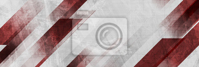 Plakat Dark red and grey grunge stripes abstract banner design. Geometric tech vector background