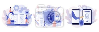 Plakat Data protection concept. Scan Fingerprint, Identification system. Modern flat cartoon style. Vector illustration