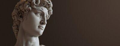 Plakat David sculpture by Michelangelo. Close up with dark background. (left version)