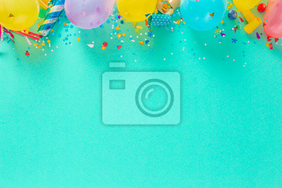 Plakat Decoration party. Balloons and various party decorations with copy space top view