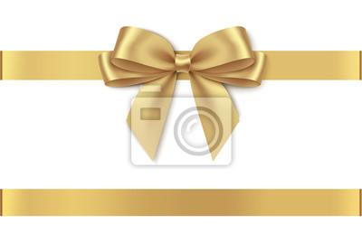 Plakat Decorative golden bow with horizontal ribbon isolated on white background. Vector illustration
