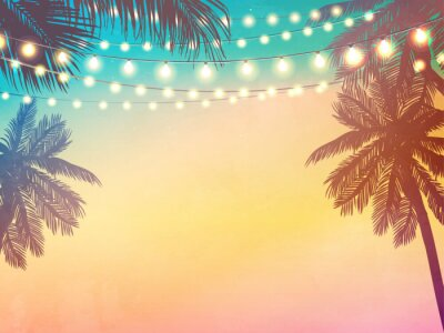 Plakat Decorative holiday lights. Background in beach style