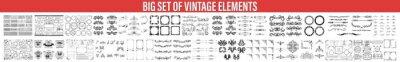 Plakat Decorative Ornate Elements and Badges, Vector set of calligraphic design elements, Vector set of vintage styled calligraphic elements or flourishes, collection or set of vector decorative elements