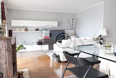 c17c56d2 Dekoracja wnętrz z nowoczesnym salonie, stół biały kryształ - Plakaty -  Redro