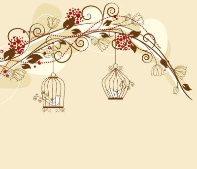 Plakat dekoracje z kwiatów par ptaków w klatkach