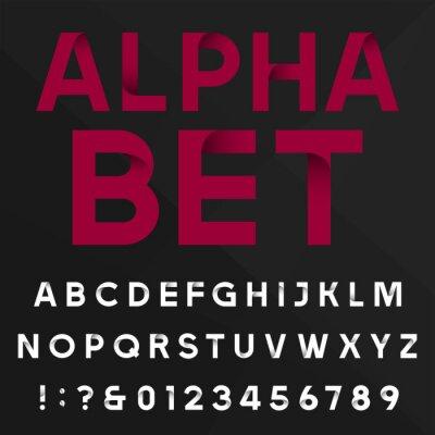 Plakat Dekoracyjne czcionki Alfabet wektorowych. Sans serif liter typu, cyfr i symboli na ciemnym tle. Wektor typografii Zdjęcie do gazet, plakatów itp łatwo zmienić kolor.