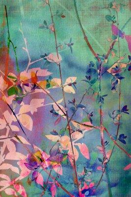 Plakat Dekoracyjne grunge z naturalnych liści