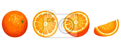Plakat Delicious orange fruit vector design illustration isolated on white background