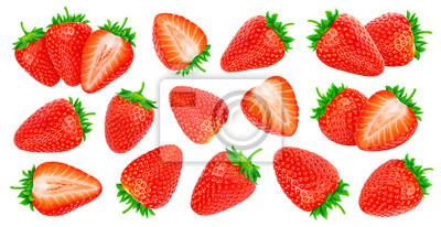 Plakat Delicious whole and chopped fresh ripe strawberries set isolated on white background