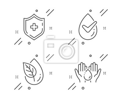 Plakat Dermatologically tested, Medical shield and Organic product line icons set. Wash hands sign. Organic, Medicine protection, Leaf. Skin care. Healthcare set. Vector