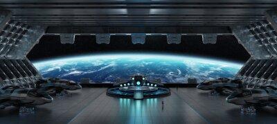 Plakat Desantowego statku kosmicznego wnętrza 3D renderingu elementy ten wizerunek meblujący NASA