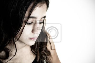 Plakat Desaturated Portret smutnej dziewczyny hiszpańskie