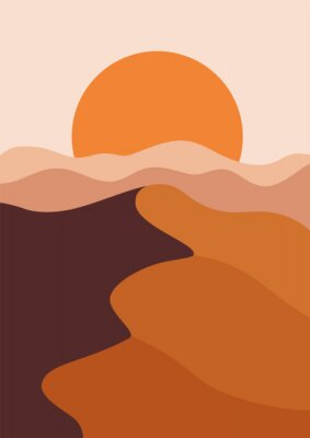 Plakat Desert landscape in a vertical format, warm beige colors. Vector illustration with sunset in mountains. Abstract landscape poster.