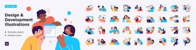 Plakat Design and Development illustrations. Mega set. Collection of scenes with men and women involved in software or web development. Trendy vector style
