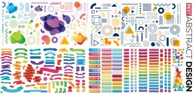 Plakat Design, button, banner with abstract element shapes