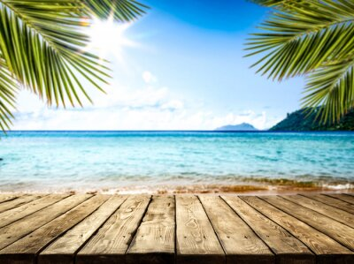Plakat desk of free space and summer beach landscape
