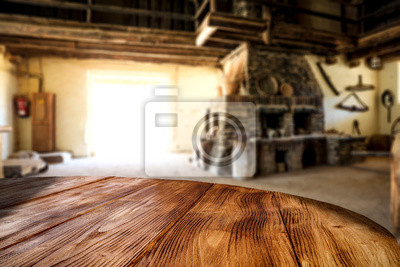 Desk of free space and wild west home interior. Free space for your decoration.
