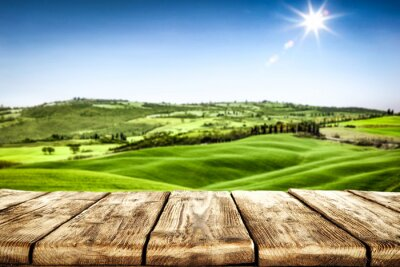 Plakat desk of free space for your decoration and landscape of spring Tuscany.