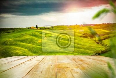 Plakat Desk of free space for your decoration and spring landscape of tuscany