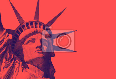 Plakat detail of the face of the statue of liberty with a red duo tone effect