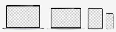 Plakat Device screen mockup. Laptop pro and thin, tablet and smartphone silver colors with blank screens for you design. Realistic vector illustration.