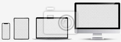 Plakat Device screen mockup. Smartphone, tablet, laptop and monoblock monitor, with blank screen for you design. Vector EPS10