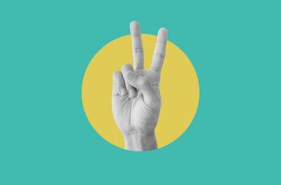 Plakat Digital collage modern art. Hand showing peace hand sign