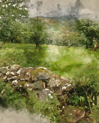 Plakat Digital watercolor painting of Landscape image of view from Precipice Walk in Snowdonia
