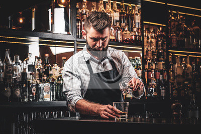 Plakat Diligent serious barman is preparing alcoholic beverege for customer.