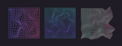 Plakat Distorted neon grid pattern. Abstract glitch background. Set collection. Retro wave, synthwave, rave, vaporwave. Blue, black, pink purple colors. Trendy retro 1980s, 90s style. Print, poster, banner.