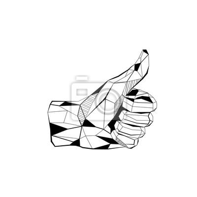 Dłoń z kciuk w górę stylizowane trójkąta wielobocznego modelu