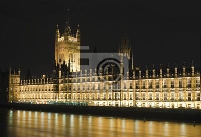 Plakat Do Parlamentu oświetlone w nocy