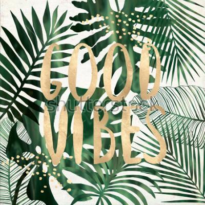 Plakat Dobre wibracje cytat z tropikalnych liści drukowalnych kolaż sztuki ściany
