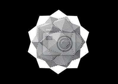 dodecahedron-Icosahedron z czarno-białe paski twarzy