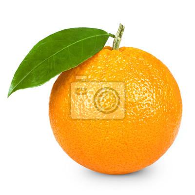 Plakat Dojrzałe pomarańczowy samodzielnie na białym tle